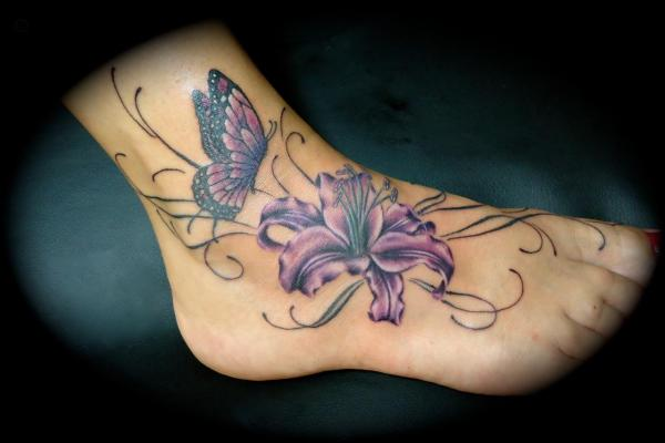 Butterfly Ankle Flower Tattoo Design
