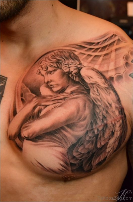 Angel Tattoos On Chest : angel, tattoos, chest, Graceful, Angel, Tattoos, Chest