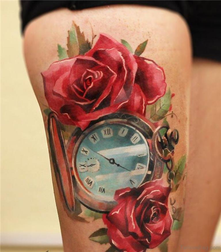 70 Impressive Rose Tattoos For Thigh