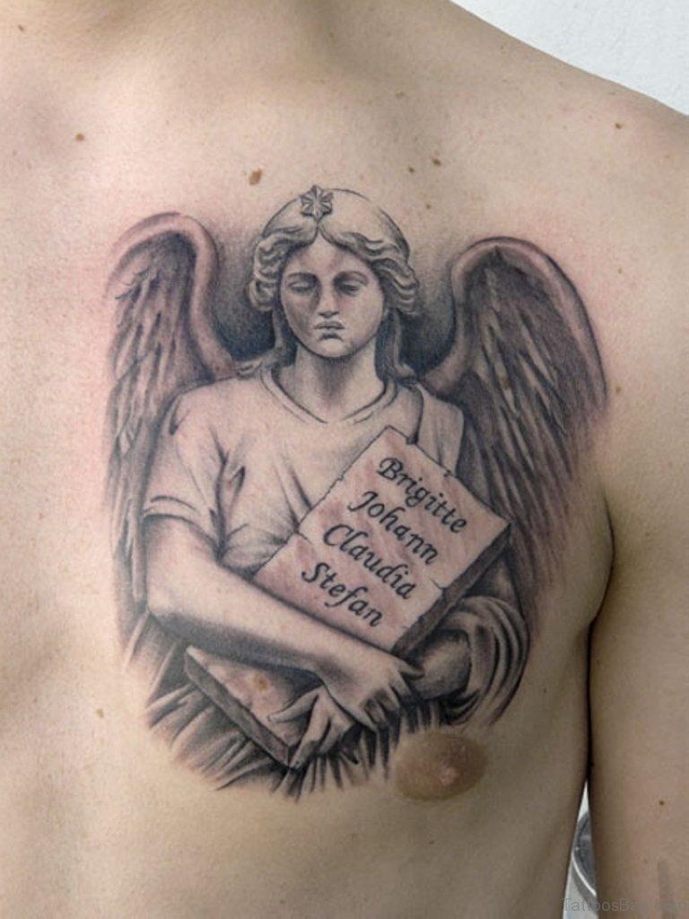 Angel Chest Tattoo : angel, chest, tattoo, Graceful, Angel, Tattoos, Chest