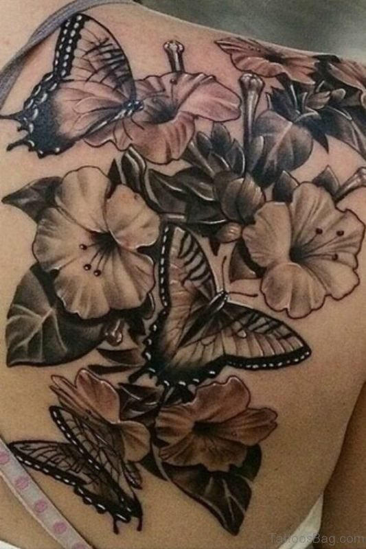 Butterfly And Flower Tattoos : butterfly, flower, tattoos, Beautiful, Butterfly, Flower, Shoulder, Tattoos