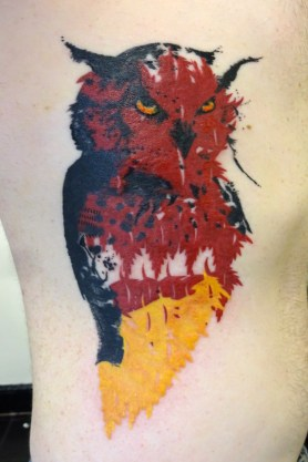 Owl - The original digital art used for this tattoo was done by Donnie Riggs