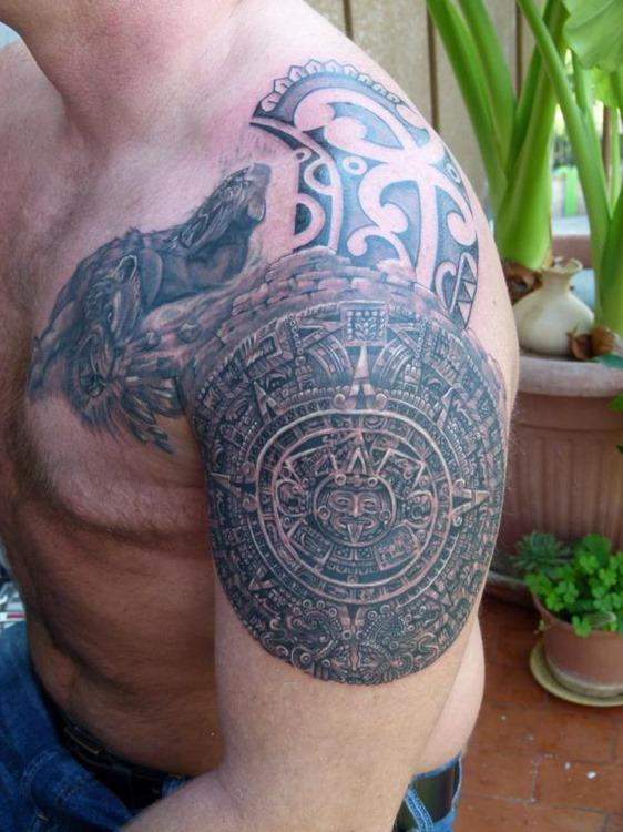 Aztec Shoulder Tattoo : aztec, shoulder, tattoo, Aztec, Tribal, Tattoo, Designs, Elegant
