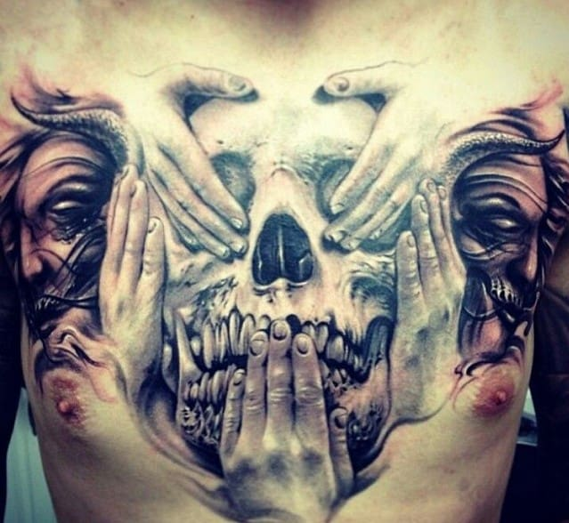 Biomechanical Chest Tattoo Designs