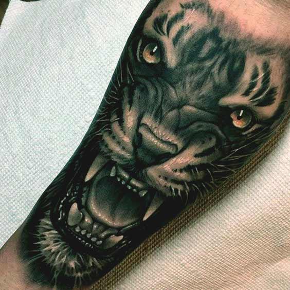 Geometric Tiger Tattoo Idea