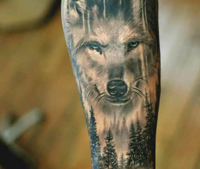 Wolf And Tree Tattoo Designs On Inner Forearm Ideas For Boys