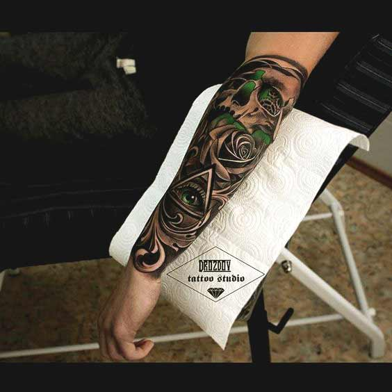Forearm Small Rose Tattoos For Men