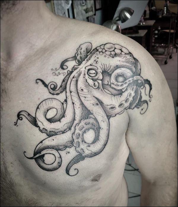 octopus tattoos on chest