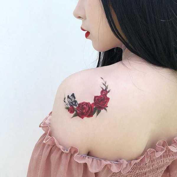 rose back tattoos