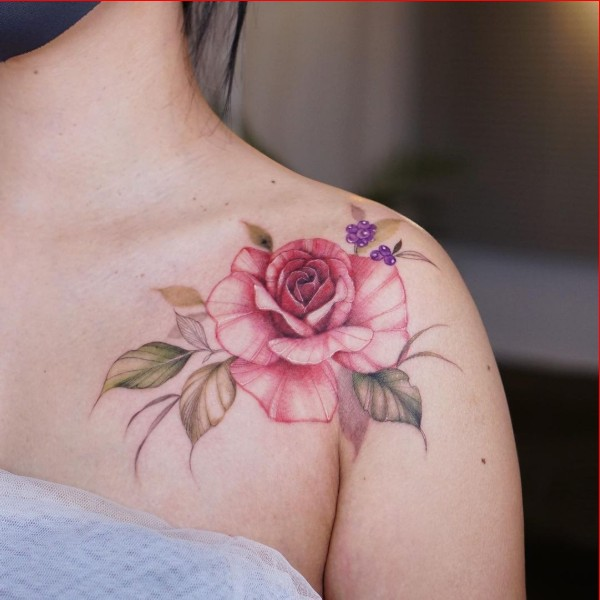 rose shoulder tattoo ideas for girls