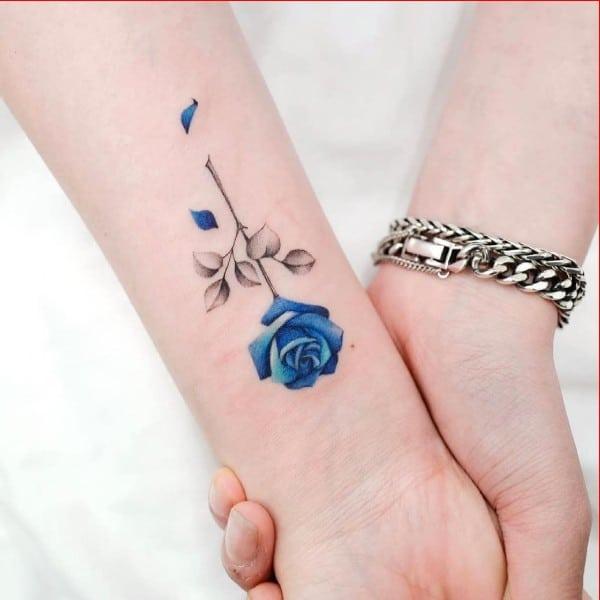 blue rose tattoo ideas for wrist