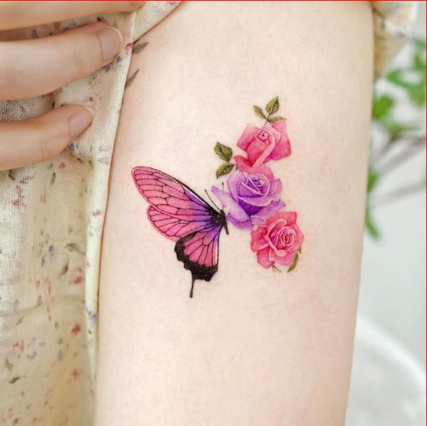 cute butterfly tattoos with rose