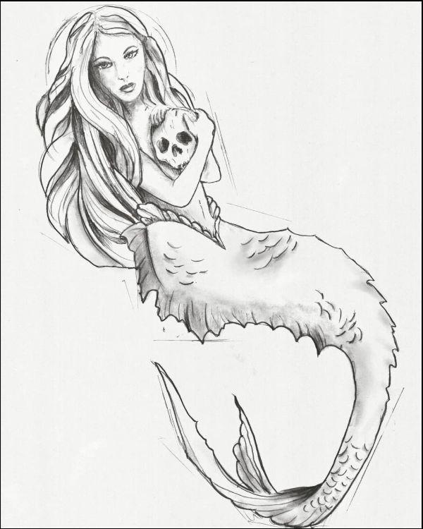 25+ Mermaid Line Drawing Tattoo