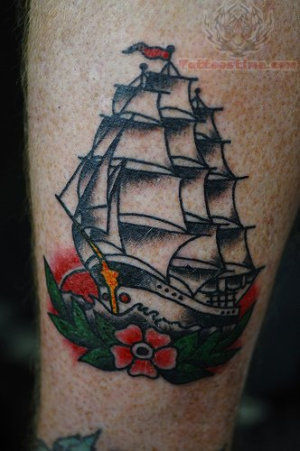 Traditional Ship Tattoos : traditional, tattoos, American, Traditional, Tattoo