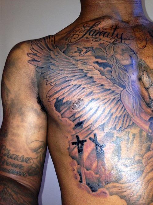 Angel Chest Tattoo : angel, chest, tattoo, Angel, Chest, Tattoo