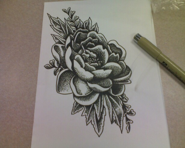 Dotwork Floral Tattoo Designs