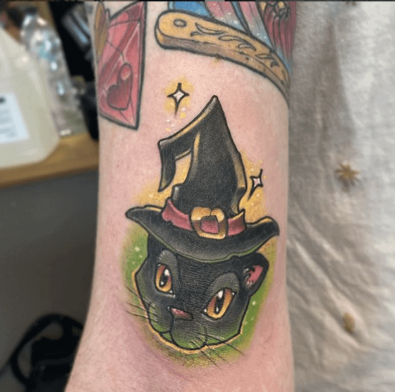 Witch Cat Tattoo by dackattack