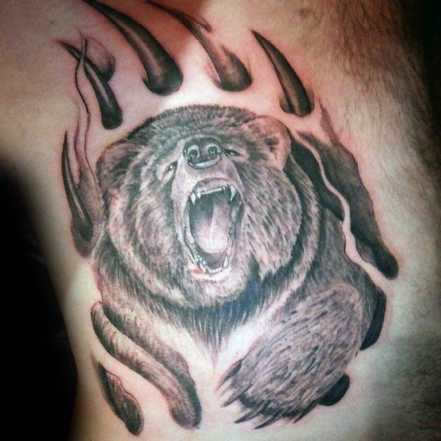 Bear Claw Tattoo On Chest Meaning