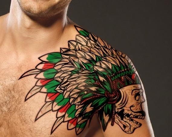 Native American Wolf Skull Tattoo