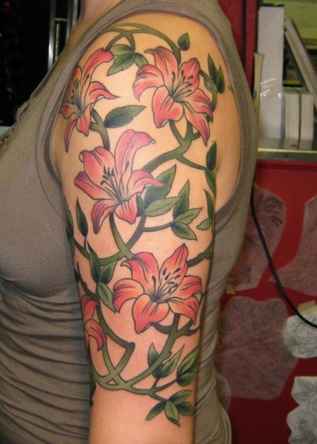 sleeve lily vines flower tattoo