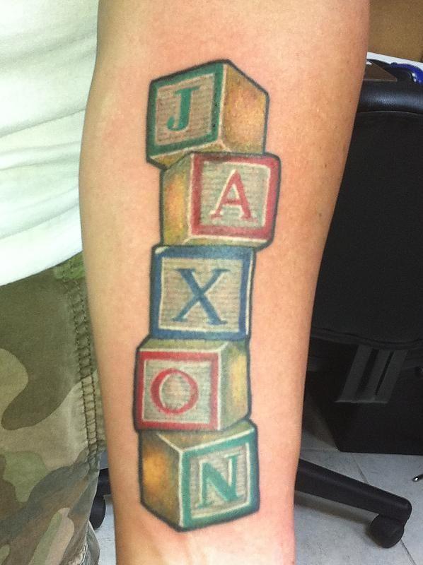 Block Lettering Tattoos : block, lettering, tattoos, Block, Tattoos