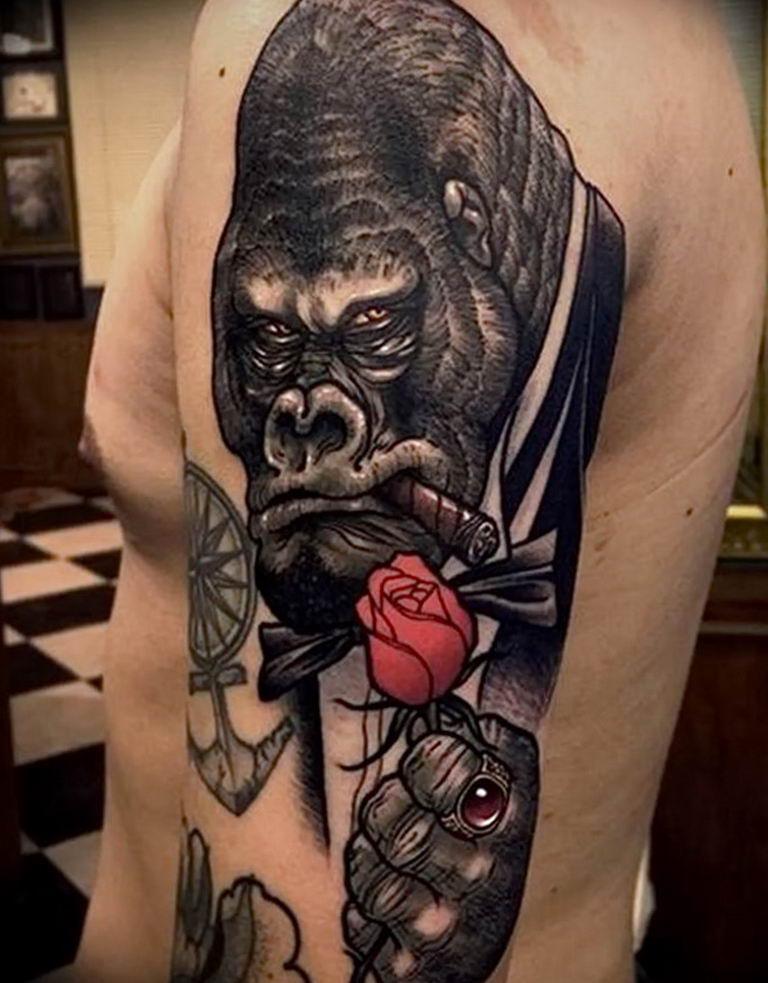 Gorilla Tattoo Meaning : gorilla, tattoo, meaning, Photo, Example, Gorilla, Tattoo, 28.01.2019, №163, Drawing, Tattoovalue.net