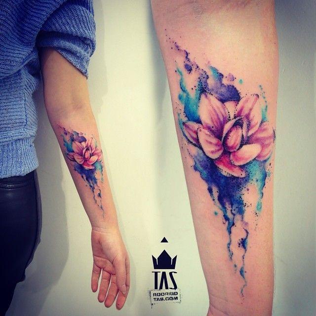 Watercolor Tattoo Flor Punteada Acuarelas By Rodrigo Tas