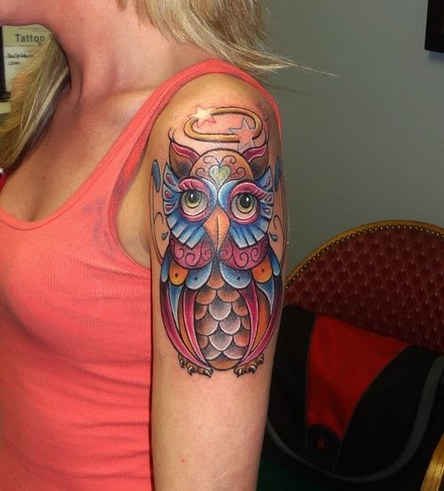 Women Tattoo Girly Sleeve Tattoos girly colorfull owl