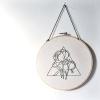 Geometric Tattoo - Triangle and Peony Hand Embroidered ...