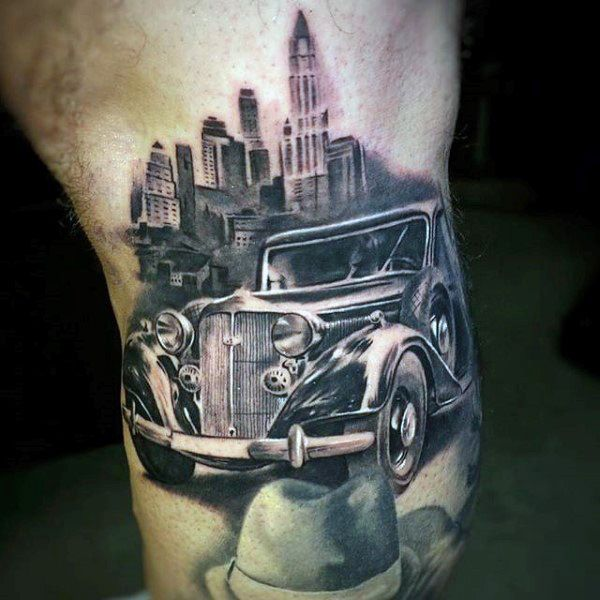 Tattoo Trends Gangster Mens Lower Leg Tattoo With Vintage Car And
