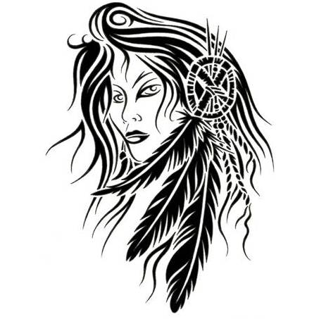 Native American Woman Tattoo Drawing
