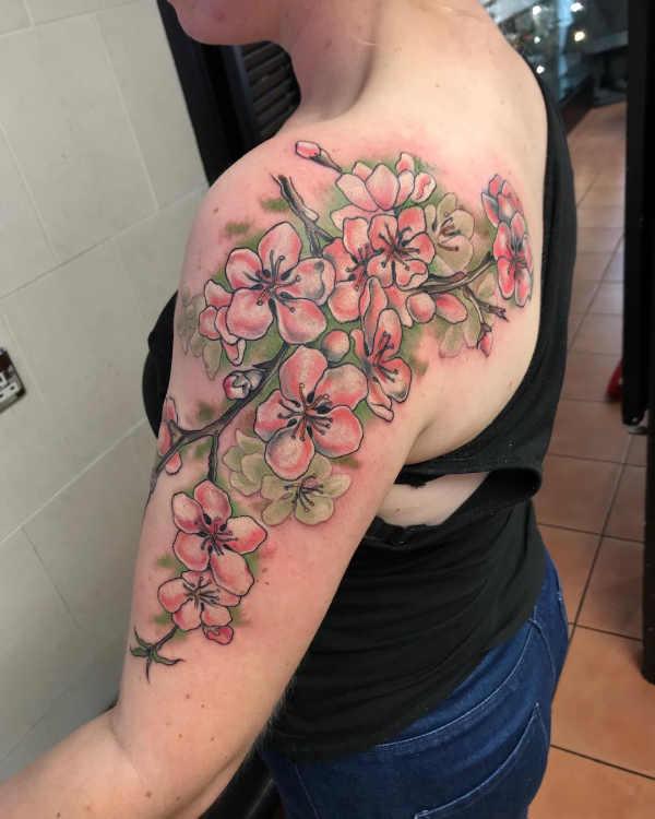 Disegni Di Fiori Giapponesi : disegni, fiori, giapponesi, Tatuaggi, Fiori, Ciliegio:, Significato,, Tatuaggio.co