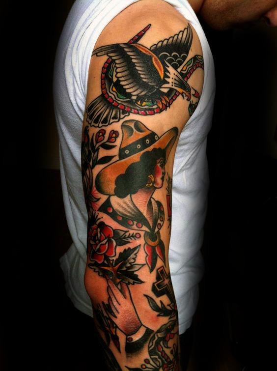 60 De La Manga Del Tatuaje Tradicional Diseños Para Los Hombres