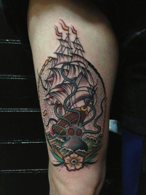 Tatuajes De Pulpo Y Barco Y Significados De Kraken Tatuajeclubcom
