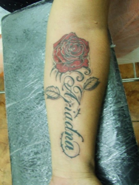 Tatuaje Del Nombre Ariadna Con Una Rosa
