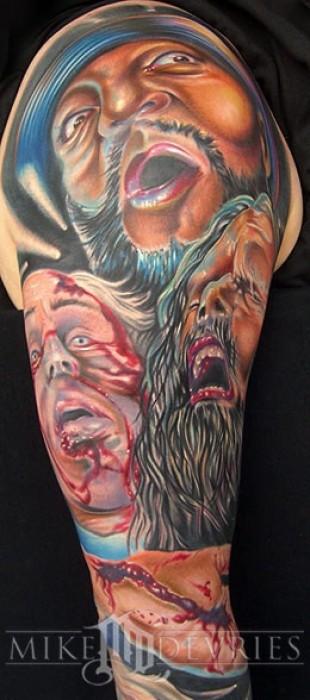 Tatuaje De Caras De Zombies