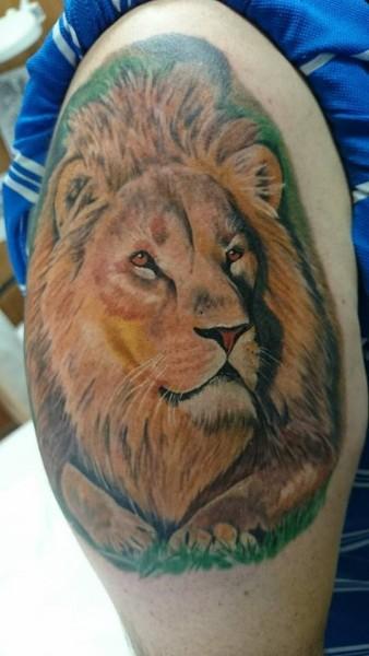 Tatuaje De Una Cabeza De León A Color En El Brazo