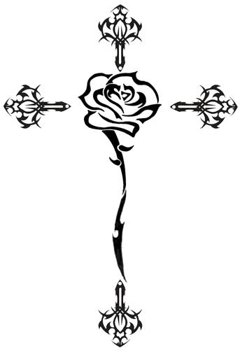 tatuaż krzyż róża