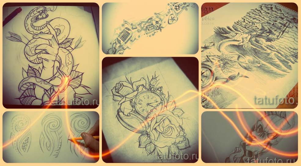 эскизы тату рукава примеры рисунков для татуировки
