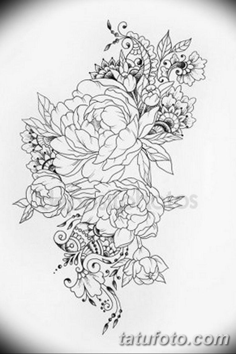 эскизы тату для девушек пионы 08032019 008 Tattoo Sketches