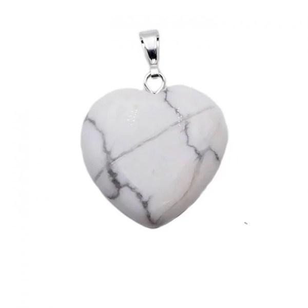 Howlite pendentif en cœur