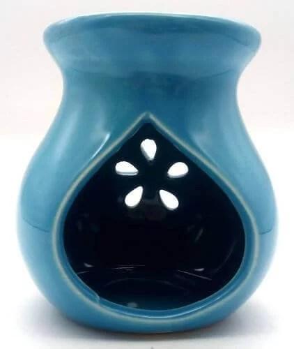 Brûleur Huile Céramique Ajouré Bleu 9cm