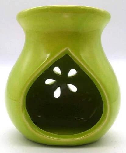 Brûleur Huile Céramique Ajouré Vert 9cm
