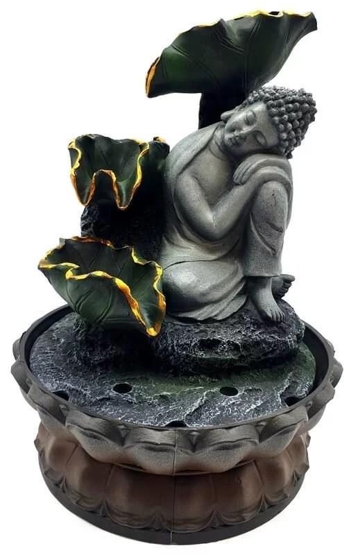 Fontaine Résine Bouddha Couché sur Genou & Cascade 28cm
