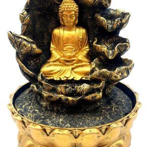 Fontaine Résine Bouddha Doré & Cascade 28cm