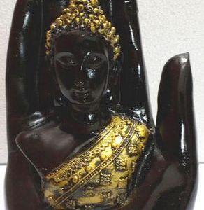 Statue Résine Bouddha sur Main Noir 15cm