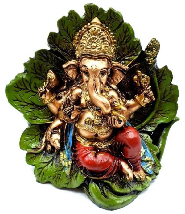 Statue Résine Ganesh Multi sur Feuille 11cm