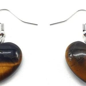 Boucles d'oreilles Coeur Oeil de Tigre 4cm
