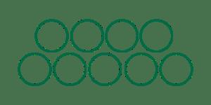 Nio enkla cirkelformationer som visar hur nålarna hos en Magnum M1 ligger i förhållande till varandra.