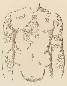 Äldre teckning av tatuerad manlig torso.